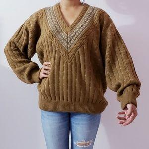 Alpaca Wool Chuncky Knit Dolman Sleeves Sweater